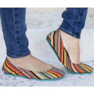 Tieks Vegan Ballet Flats Shoes Sunset Stripe Womens Size 6